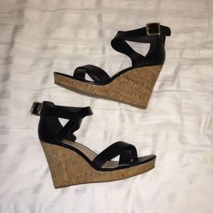 Shoes - Black leather nude cork wedges 8 like new!